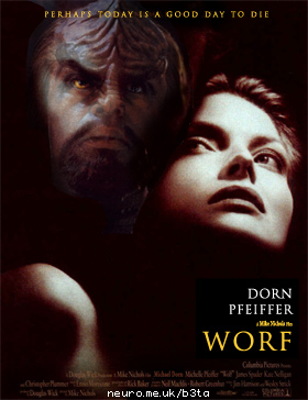 [Movie poster mocking 'Wolf', entitled 'Worf']